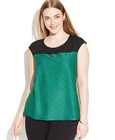 Calvin Klein Plus Size Cap-Sleeve Colorblocked Printed Top
