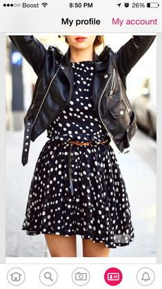 Polka dot b&w dress + leather jacket - Fashion street style The Best of casual outfits in - Amazing Dresses & Outfits Dress Outfits, Rock Outfits, Spring Outfits, Casual Outfits, Cute Outfits, Fashion Outfits, Spring Wear, Spring Clothes, Grunge Outfits