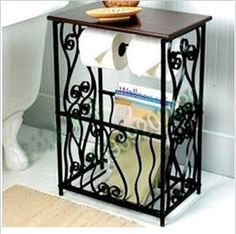 H 61cm Black Iron Shelves Vertical Coffee Table Magazine Bathroom Towel Rack | eBay