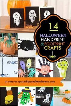 14 Halloween Handprint and Footprint Crafts | Boy Birthday Party Ideas and Supplies - Spaceships and Laser Beams