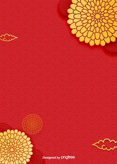 the red and yellow gold chinese traditional pattern elements