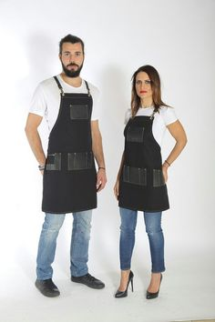Hairdresser apron, premium quality leather, personalized with your logo in Black, Red, Yellow variations with many pockets - JULIAN Coffee Brown Color, Barber Gifts, Barber Apron, Leather Suspenders, Business Checks, Olive Green Color, Black Canvas, Leather Fabric, Color Negra