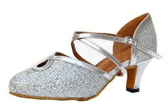 TDA Womens Comfort Ankle Strap Buckle Silver Glitter Salsa Tango Ballroom Latin Modern Dance Shoes 10 M US * Continue to the product at the image link.(This is an Amazon affiliate link)