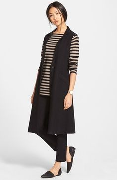 Eileen Fisher Long Vest, Stripe Knit Tunic Top & Skinny Knit Pants available at #Nordstrom
