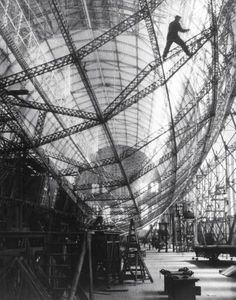 The construction of the Graf Zeppelin at a fabrication plant. Germany, 1928.
