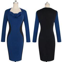 Korean OL Style Long Sleeve Slim Women Pencil Dress - MK Fashion Design