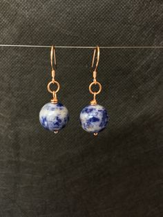 9ct Rose Gold Plated Sodalite Earrings