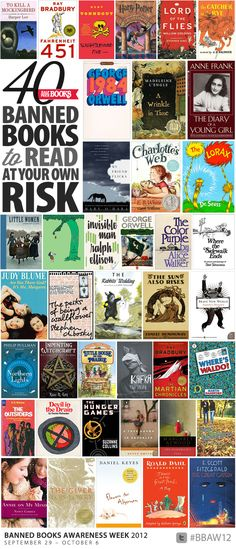 40 Banned (or challenged) Books to Read at Your Own Risk. I've actually read most of these, but there are still a few left to read!