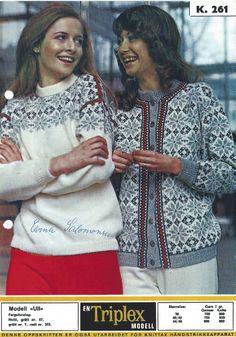 Ull 261 -left on is favourite Winter Knitting Patterns, Norwegian Knitting, Jumper, Men Sweater, Fair Isles, Fair Isle Knitting, Nordic Design, Color Combinations, Scandinavian