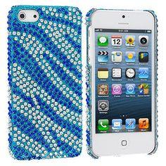 Blue / Silver Zebra Bling Rhinestone Case Cover for Apple iPhone 5 / 5S