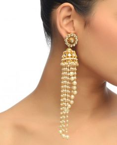 Floral Jhumki Earrings with Pearls- Buy Earrings,Preeti Mohan Online | Exclusively.in