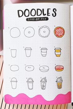 Best Step By Step Food Doodles For Your Bujo - - If you're going with a fruit or dessert theme in your bullet journal then you need to check out these super cute food doodles and tutorials for ideas! Bullet Journal Banner, Bullet Journal Writing, Bullet Journal Aesthetic, Bullet Journal Themes, Bullet Journal Inspiration, Bullet Journal Decoration, Doodle Art For Beginners, Easy Doodle Art, Cute Easy Drawings