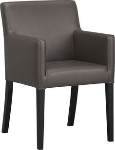 Lowe Smoke Leather Arm Chair in Dining, Kitchen Chairs | Crate and Barrel