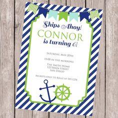 Birthday Party Invitation, Nautical Invitation, Nautical Birthday, Navy And Green,Boy Birthday,Printable Invitation, Personalized Invitation on Etsy, $12.00