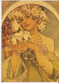 Alphonse Mucha Flowers | Prague_Postcard_Alphonse_Mucha_Flower