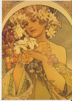 Actress Sarah Bernhardt by Alphons Mucha.  Sarah was an odd duck.  Mucha did a lot of poster art for her and her plays.