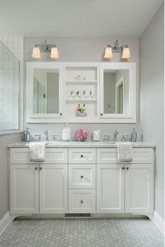 "Small bathroom vanity dimensions. Small bathroom vanity dimension ideas. This custom double vanity measures 5' - 8 1/2"" wide. #SmallBathroom #Vanity #Dimensions"