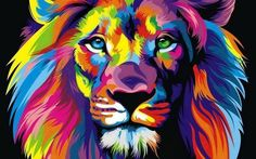 Hot Price Pop Art HD Print Colorful Lion Animals Abstract Oil Painting on Canvas Modern Wall Art Picture for Kid Room Poster Cudros Decor .more information please click the link Arte Pop, Rainbow Lion, Tableau Pop Art, Lion Painting, Lion Art, Art Design, Modern Wall Art, Oeuvre D'art, Lions