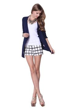 Navy Collarless Half Sleeve Sheer Cardigan Outerwear