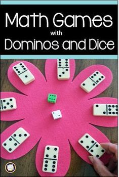 Spring Math Games with Dice and DominosKeep math interest and learning high from spring through summer with math center games like the ones in this post. Using just dice, dominoes, and a fl. Teaching Math, Teaching Ideas, Math Games For Kindergarten, 1st Grade Math Games, Good Math Games, Math Games With Cards, Math For 4th Graders, Primary Maths Games, Year 3 Maths