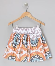 Take a look at this Peach Flouncy Medallion Skirt - Girls by Owl's & Bat's on #zulily today!