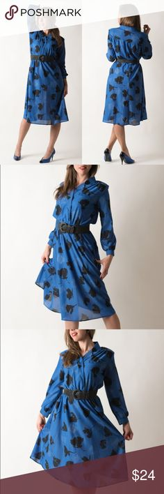 Vintage 1980s Cobalt Blue Black Floral Dress Made by Bedford Fair.  Circo 1980s. Material is a rough poly. Belt shown is not included.   There are a few snags on the skirt by the bottom, but these do not detract.   { m e a s u r e m e n t s }  taken with garment laying flat s h o u l d e r : 16 inches (seam to seam) b u s t : 19 inches (armpit to armpit) w a i s t : 11-16 inches across h i p : open l e n g t h : 42 inches (top to bottom) s l e e v e : 21 inches (from shoulder) Vintage…