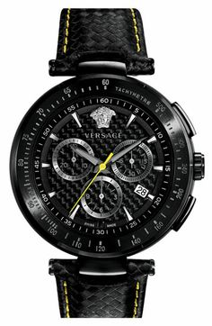 Men's Versace 'Mystique Chrono' Carbon Fiber Dial Watch, 43mm