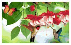 Hummingbirds Cross Stitch Printable Needlework Pattern - DIY Crossstitch Chart, Relaxing Hobby, Instant Download PDF Design