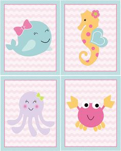 Set of 4 Unframed Sea Sweeties Whale/Girl Ocean life/Octopus/Seahorse/Crab inch Nursery Wall Art Prints Baby Kids DecorUp for sale is a A set of 4 Sea Sweeties Whale Octopus Seahorse Crab Nursery Art Prints. This adorable Nursery Decor makes a wonder Art For Kids, Crafts For Kids, Diy And Crafts, Country Wall Art, Mermaid Birthday, Nursery Wall Art, Baby Boy Shower, Bunt, Wall Art Prints