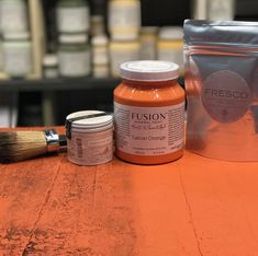 Tuscan Orange with Fresco texturizing powder. Before and after using the Black Furniture Wax. Look how the texture has been emphasized! fusionmineralpaint.com