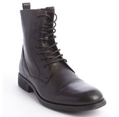 $59, Kenneth Cole New York Dark Brown Leather Perfect Time Ing Lace Up Boots. Sold by Bluefly. Click for more info: https://lookastic.com/men/shop_items/27667/redirect
