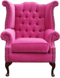 Bright Pink Chesterfield Cueen Anne Chair