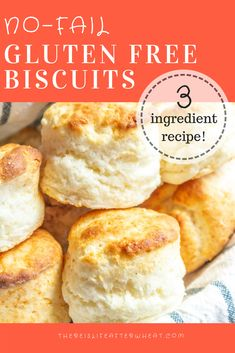 Fluffy, mile-high biscuits in just minutes! This recipe is truly NO FAIL and wil… Fluffy, mile-high biscuits in just minutes! This recipe is truly NO FAIL and will make perfect GLUTEN FREE BISCUITS every time. Pin to save! Biscuit Sans Gluten, Gluten Free Biscuits, Gluten Free Pancakes, Gluten Free Biscuit Recipe Easy, Gluten Free Recipes For Breakfast, Gluten Free Dinners Easy, Gluten Free Breakfast Casserole, Gluten Free Dinner Rolls, Almond Flour Biscuits