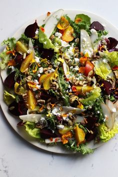 Roasted Beet and Pear Salad | Honestly Yum -- just hold the cheese or use vegan variety.