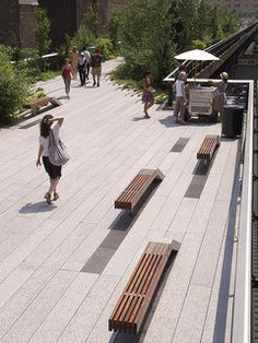 A couple days after Section 2 of the High Line opened. Now the park extends from the Meatpacking District (south of Street) to Street, near the Hudson Yards. Looking south from atop the Street Seating Steps. Urban Furniture, Street Furniture, Urban Landscape, Landscape Design, Landscape Architecture, Architecture Design, Architecture Diagrams, Architecture Portfolio, Public Space Design
