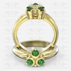 Glorious Custom made Zelda Ocarina Hyrule Warrior inspired ring with Natural Emerald stones / or Gold made to order