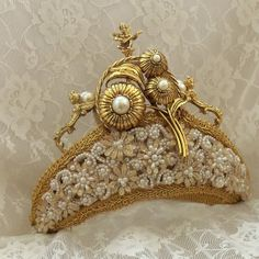 Bridal Crown, Gold Renaissance Angels, white n ivory beading, Victorian Steampunk wedding Tiara, OOAK Bridal Accessory