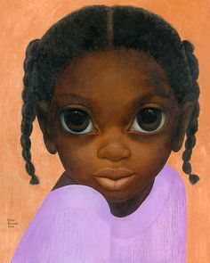BIG EYES: Margaret Keane is an internationally famous and acclaimed American artist. Her works feature her signature large-eyes. Her paintings are in public collections all over the world. Seen here: Black Lavender Oil on canvas Big Eyes Margaret Keane, Keane Big Eyes, African American Artwork, African Art, African Style, Margareth Keane, Big Eyes Paintings, Big Eyes Artist, Blood Art