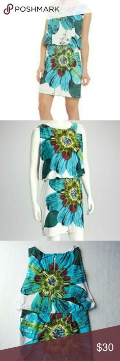 Floral Blouson Dress by Sandra Darren Floral Blouson / Drop Waist Dress by Sandra Darren. Sz 6. Vibrant turquoise blue and green flowers over an off white background. Super soft, comfy and flatering. Pull over style with a boton to close on the nape.  It is lined and the material is thick enough so your undergarments or any imperfections don't show. Open sleeves sides with underneath linning. EUC. Meassures in pic. Sandra Darren Dresses