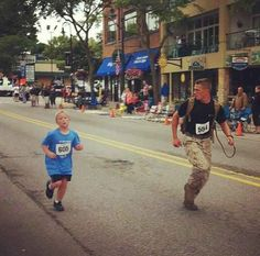 This is Lance Cpl. Myles Kerr, a 19-year-old Marine, running in a 5K over the weekend. Not so much a quote but I love stories like this...