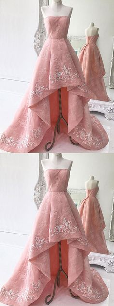#Pink Prom Dress #Appliques Prom Dress #Asymmetrical prom dress #Lace prom dress #Strapless prom dress #A-line prom dress #cheap prom dress
