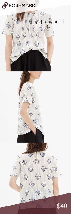 Madewell pintuck flowerstamp blouse Delicate pintucks. A textured silk-cotton weave. A unique floral inspired by the print on a vintage scarf. Yes, pretty much perfect.   True to size. Silk/cotton. Excellent like new condition!  You. Will. Love. It. ❤️ Madewell Tops Blouses
