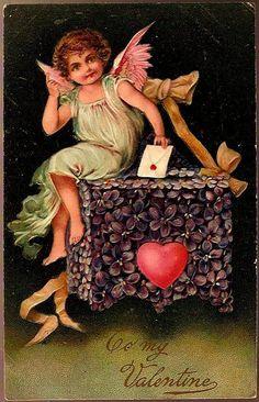 Vintage Post Card PFB Valentine Greetings Cherub with Flower Mailbox from dsmomentsintime on Ruby Lane