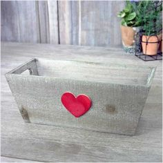 Shabby Distressed Wooden Herb Box Planter Red Heart Decoration Vintage Style 5060322018362 on eBid United Kingdom