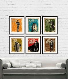 Star Wars - C-3PO - R2-D2 - Darth Vader - Boba Fett - Yoda - Luke Skywalker Vintage Silhouette Poster Print Set of 6