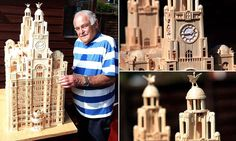 Sculptor who is a match for anyone: Retired carpenter, spends eight years recreating striking landmarks with ONE MILLION matchsticks Matchstick Craft, Exeter Cathedral, One In A Million, Carpenter, Sculptures, Models, Artwork, Crafts, Templates