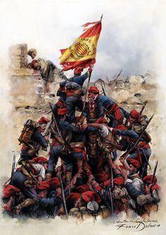 """Orgull"""" la toma de Tetuán en 1860, donde los voluntarios catalanes a las órdenes del General Prim fueron los primeros en izar la bandera de España Military Diorama, Military Art, Military History, Spain History, Art History, Spanish War, Classic Army, Civil War Art, Gundam Wallpapers"""