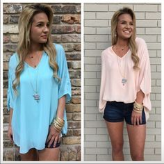 Lightweight chiffon blouse Soft lightweight chiffon blouse fits loose. Available in sizes small thru large but can fit up to 3x and in Aqua or Blush color. These are very roomy shirts. Tops Blouses