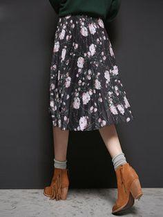 Pleated Floral Pattern Midi Skirt