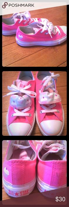 Neon pink cupcake Converse. Very minimal wear. Only worn once or twice. Like new. Double tongue with cute cupcake detail. Womens size 6. Converse Shoes Sneakers